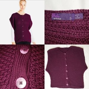 Prana Estee Oversized Sweater Vest Button Front S